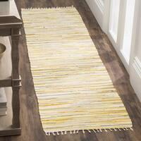 Safavieh Hand-Woven Rag Cotton Runner Gold/ Multicolored Cotton Runner (2' 3 x 8')