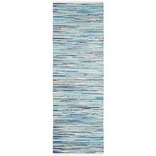 Safavieh Handmade Rag Rug Velija Casual Stripe Cotton Rug (23 x 6 Runner - Turquoise/Multi)