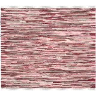 Safavieh Handmade Rag Rug Velija Casual Stripe Cotton Rug (4 x 4 Square - Red/Multi)