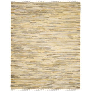 Safavieh Handmade Rag Rug Velija Casual Stripe Cotton Rug (8 x 10 - Gold/Multi)