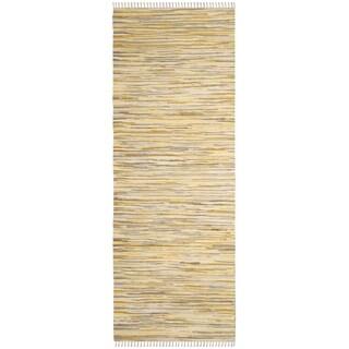 Safavieh Handmade Rag Rug Velija Casual Stripe Cotton Rug (23 x 10 Runner - Gold/Multi)