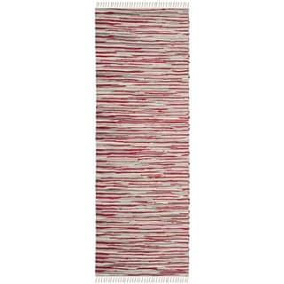 Safavieh Handmade Rag Rug Velija Casual Stripe Cotton Rug (23 x 8 Runner - Red/Multi)
