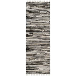 Safavieh Handmade Rag Rug Velija Casual Stripe Cotton Rug (23 x 10 Runner - Black/Multi)