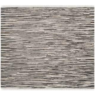 Safavieh Handmade Rag Rug Velija Casual Stripe Cotton Rug (6 x 6 Square - Black/Multi)