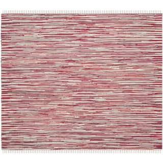 Safavieh Handmade Rag Rug Velija Casual Stripe Cotton Rug (6 x 6 Square - Red/Multi)