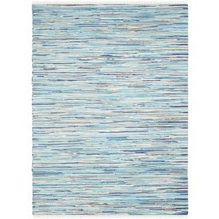 Safavieh Handmade Rag Rug Velija Casual Stripe Cotton Rug (3 x 5 - Turquoise/Multi)