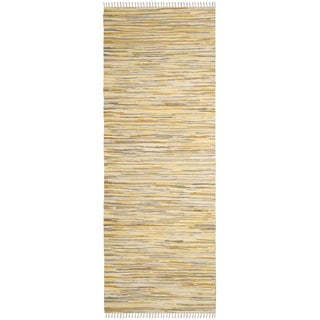Safavieh Handmade Rag Rug Velija Casual Stripe Cotton Rug (23 x 6 Runner - Gold/Multi)