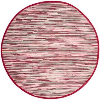 Safavieh Handmade Rag Rug Velija Casual Stripe Cotton Rug (6 x 6 Round - Red/Multi)