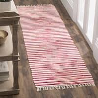 Safavieh Hand-Woven Rag Cotton Runner Red/ Multicolored Cotton Runner (2' 3 x 8')