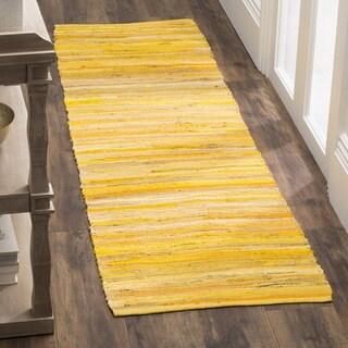Safavieh Hand-Woven Rag Cotton Runner Yellow/ Multicolored Cotton Runner (2' 3 x 8')