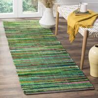 Safavieh Rag Cotton Runner Bohemian Handmade Green/ Multi Cotton Runner Rug