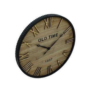 Benzara Wood Metal 36-inch Wall Clock