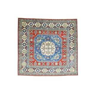 Hand-knotted Geometric Design Kazak Wool Square Rug (6'6 x 6'10)
