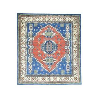 Hand-knotted Geometric Design Kazak Wool Oriental Rug (8'6 x 9'6)