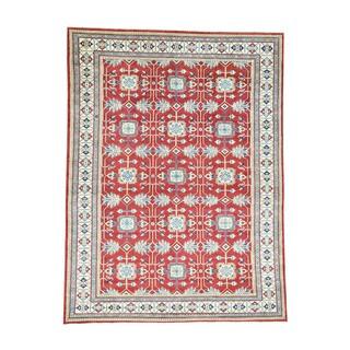 Hand-knotted Tribal Design Red Kazak Wool Oriental Rug (9'10 x 13'3)