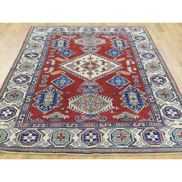 Tribal Design Red Kazak Oriental Rug