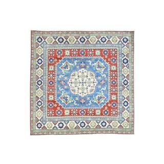 Wool Hand-knotted Geometric Design Kazak Blue Square Rug (8' x 8')