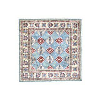 Hand-knotted Square Sky Blue Kazak Tribal Design Rug (8'3 x 8'3)