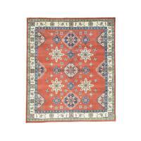 Hand-knotted Wool Red Kazak Tribal Design Oriental Rug (8'2 x 9'7)
