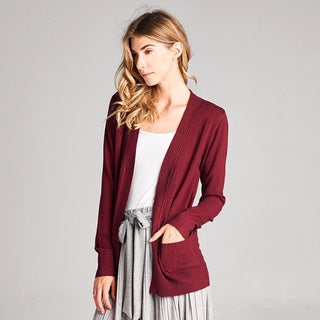 Spicy Mix Raegan Nylon, Polyester, and Viscose Knit Basic Open-front Cardigan