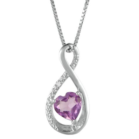 Sterling Silver Birthstone Infinity Heart Pendant with Diamond Accent