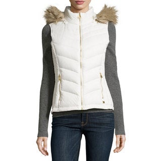 Michael Kors Women's Ivory Polyester Blend Hooded Puffer Vest