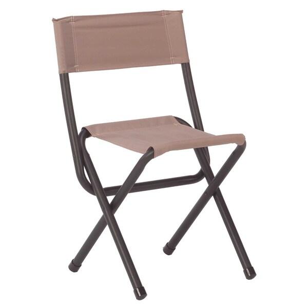 Coleman Woodsman II Black and Beige Aluminum Folding Chair