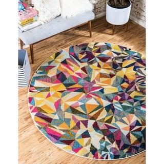 Round Abstract Triangular Modern Barcelona Multicolored Rug (8' x 8')