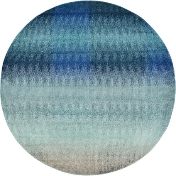 Round Blue Modern Barcelona Area Rug (8' x 8')