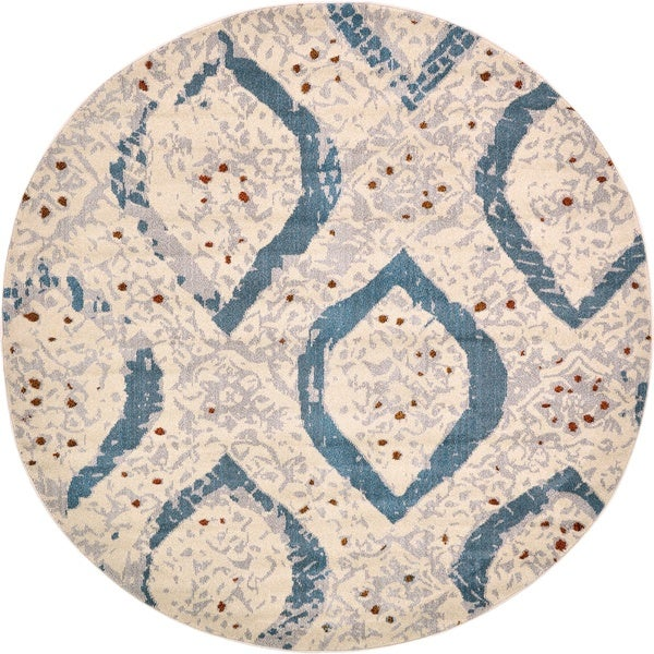 Round Off-White Barcelona Area Rug (8' x 8')