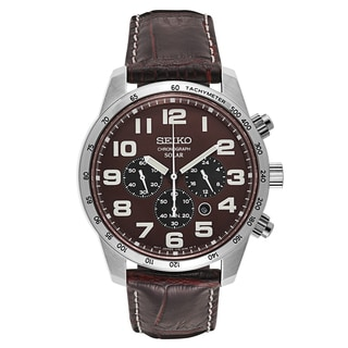 Seiko Men's Core Stainless Steel/Brown Leather Strap Watch
