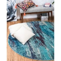 Unique Loom Iris Barcelona Round Rug - 8' 0 x 8' 0