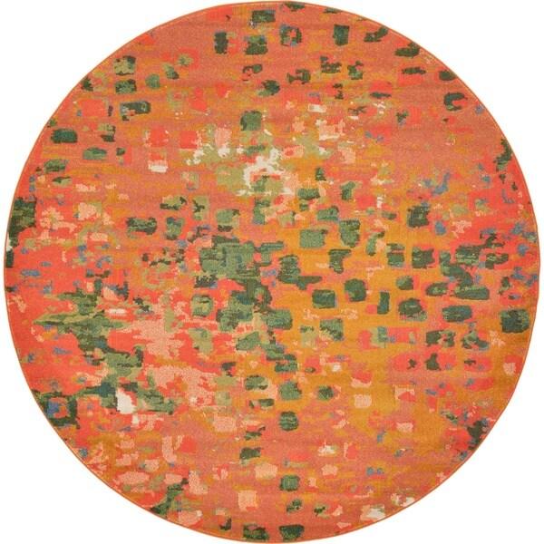 Round Orange and Green Barcelona Area Rug (8' x 8')