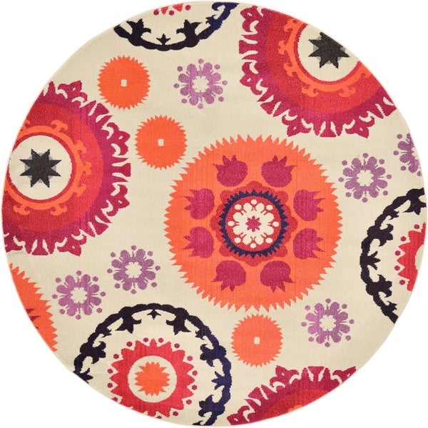 Round Almond Barcelona Area Rug (8' x 8')