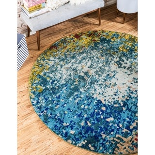 Round Cucumber Barcelona Blue/Grey/Green Synthetic/Cotton Area Rug (8' x 8')