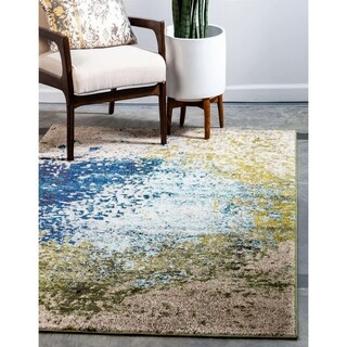 Barcelona Blue/Green Round Area Rug (8' x 8')