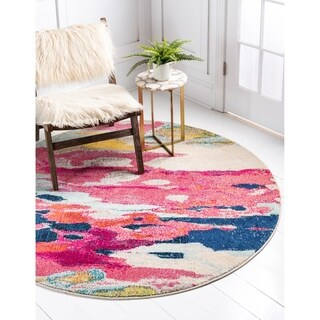 Unique Round Pink and Blue Barcelona Area Rug (6' x 6')