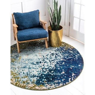 Turkish Barcelona Contemporary Blue/Green Abstract Round Area Rug (6' x 6')