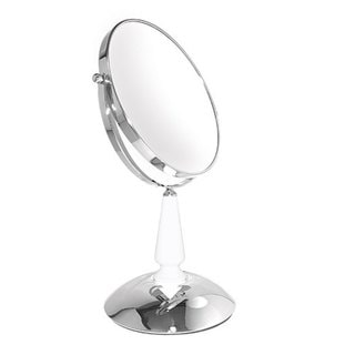 Classic Chrome White Glass Stand Mirror with Reversible 5x/1x Magnification