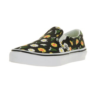 Vans Kid's Black and White Classic Slip-on Daisy Skate Shoes