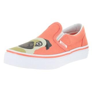 Vans Kids Classic Slip-On Pug Burnt Coral Skate Shoes