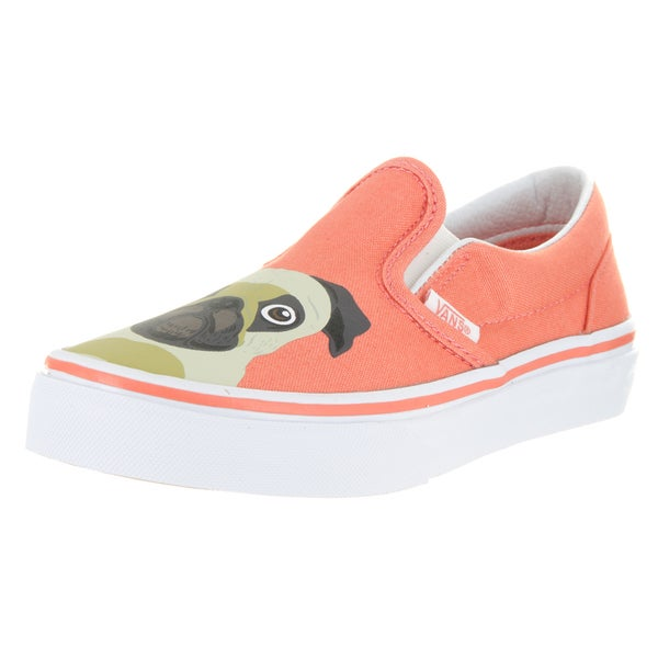82961560322be3 Shop Vans Kids Classic Slip-On Pug Burnt Coral Skate Shoes - Free ...