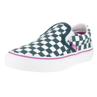 Vans Kids' Classic Slip-On (Checkerboard) Atlantic Green and White Canvas Skate Shoes