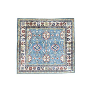 "Hand-Knotted Wool Kazak Square Tribal Design Oriental Rug (8'x8'4"")"