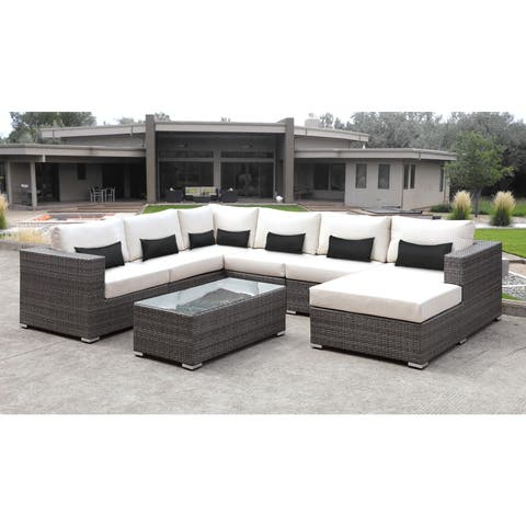 Solis Lusso 7-piece Outdoor Sectional Grey Wicker Rattan Patio with White Cushions and Black Toss Pillows