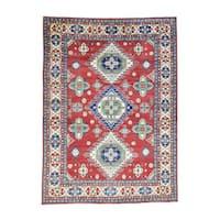 "Hand-Knotted Red Tribal Design Kazak Wool Oriental Rug (10'x13'8"")"
