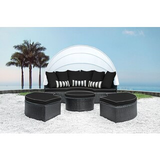 Solis Sombra 4-Piece Black and White Daybed