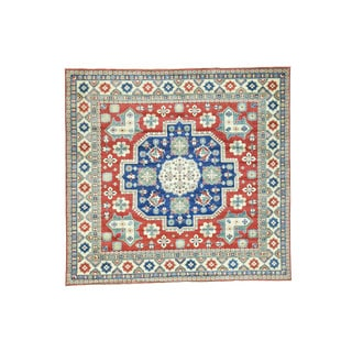 "Hand-Knotted Wool Square Kazak Tribal Design Oriental Rug (9'6""x10')"
