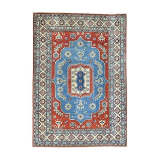 Wool Hand-Knotted Tribal Design Kazak Rug (5'1x7'3)