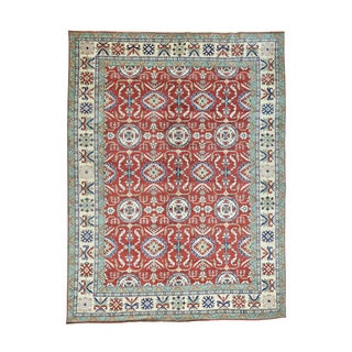 "Wool Hand-Knotted Red Geometric Design Kazak Rug (9'10""x13')"